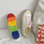 New              Women Canvas Low Top Rainbow Sole Casual Student Flats