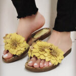 New              LOSTISY Women Flowers Decor Opened Toe Comfy Slide Sandals