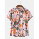 New              Men Floral Print Turn Down Collar Button Hawaii Holiday Short Sleeve Shirts