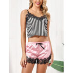 New              Women Lace Trim Striped Elastic Waist Bowknot Hot Pajama Set