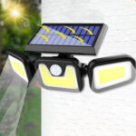 New              74LED/100COB 3 Modes Solar Wall Light Triple Head Outdoor Sensor Light