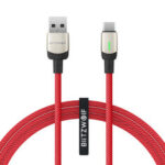 New              BlitzWolf®BW-TC21 3A LED Type-C Cable Nylon Braided Fast Charging Data Cable 3.3ft/6.6ft with 22 AWG Power + 29 AWG Data for Samsung S20 Xiaomi 9T Note8 Huawei Redmi LG