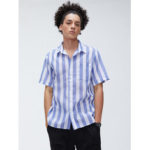 New              Mens Cotton Fashion Stripe Pocket Design Breathable Short Sleeve Casual Shirts