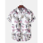 New              Mens Floral Print Short Sleeve Button Up Holiday Casual Shirts
