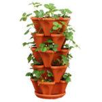 New              Stackable Planter Pots Garden Outdoor Strawberry Herb Flower Vegetable Vertical Gardening Decorations