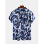 New              Men Tropical Coconut Tree Gradient Printed Turn Down Collar Pocket Short Sleeve Hawaii Beach Shirts