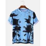 New              Mens Tropical Style Birds Trees Printing Short Sleeve Crew Neck Casual T-Shirts