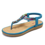 New              LOSTISY Women Bohemia Beading Elastic Band Clip Toe Soft Sole Causal Summer Flat Sandals