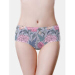 New              Women Floral Print Soft Lifting Seamless Mid Waisted Panties