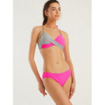 New              Women Contrast Color Halter Front Twisted Hot Bikini