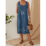 New              Flower Embroidery Daily Casual Dress Women Home Gardening Dress