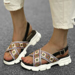 New              LOSTISY Women Embroidered Cross Strap Casual Slingback Sport Sandals