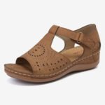 New              LOSTISY Women Open Toe Cutout Breathable Adjustable Strap  Lightweight Casual Daily Wedge Sandals
