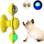 New              Pet Interactive Puzzle Training Cat Toy Turn Around Windmill Turntable With LED Ball And Catnip Ball Tease Pet toy Scratching itching Cat Brush