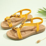 New              LOSTISY Women Beading Open Toe Elastic Band Soft Sole Casual Flat Sandals