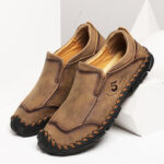 New              Men Hand Stitching Microfiber Leather Slip On Casual Flats