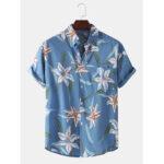 New              Mens Fashion Big Floral Printing Turn Down Collar Casual Shirts