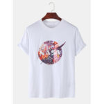 New              Mens Designer Moon Floral License Crew Neck Short Sleeve Breathable T-Shirts