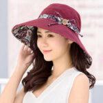 New              Multipurpose Foldable Anti-UV Cap For Lady Print Beach Sun Hat Cotton Wide Brim Hat For Women Elegant Summer Hats