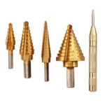 New              Drillpro 4pcs HSS Titanium Coated Step Drill Bits with 1pc Center Punch Hole Cutter Drilling Tool