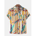 New              Men Leaves Stripe Print Pocket Turn Down Collar Short Sleeve Holiday Shirts