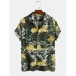 New              Mens Abstract Tropical Coconut Tree & Leopard Printed Camouflage Short Sleeve Shirts