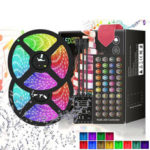 New              DC12V 5M 10M 5050 RGB LED Strip Light Kit Waterproof Home Decorative Lamp + Power Adapter + Remote Control