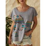 New              Elephant Print O-neck Short Sleeve Women Casual T-shirts
