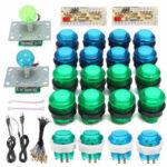 New              DIY Joystick Arcade Kits 20 LED Arcade Buttons + 2 Joysticks + 2 USB Encoder Kit + Cables Arcade Game Parts Set