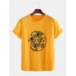New              Mens Funny Sun Moon Cartoon Printing Breathable Casual Short Sleeve T-Shirts