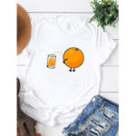 New              Women Cartoon Orange Print Short Sleeve Daily Casual T-shirt