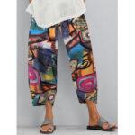 New              Retro Graffiti Printed Elastic Waist Loose Irregular Hem Casual Pants For Women