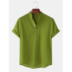 New              Mens Cotton linen Breathable Solid Color Short Sleeve Henley Shirts