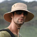 New              Mens Foldable Breathable Bucket Hat With String Outdoor Fishing Hat Climbing Sunshade Caps