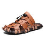 New              Men Genuine Leather Breathable Hollow Soft Sole Casual Sandals