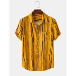 New              Men Print Pocket Turn Down Collar Short Sleeve Casual Shirts