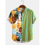 New              Banggood Design Men Tropical Leaf Colorful Stripe Mixed Print Short Sleeve Casual Holiday Shirts