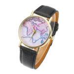 New              Fashion Casual PU Leather Strap Map Dial Women Wrist Watch Quartz Watch