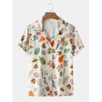 New              Men Women Fashion Cartoon Pattern Fruit Breathable Turn Down Collar Casual Shirts