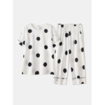 New              Women Cotton Polka Dot Short Sleeve Pajamas Sets Casual Summer Sleepwear