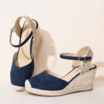 New              LOSTISY Women Espadrilles Elastic Band Ankle Strap Casual Summer Wedge Sandals