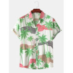 New              Men Color Block Coconut Tree Geometric Stripes Turn Down Collar Short Sleeve Shirts