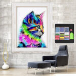 New              Colorful Cat Full Drill DIY 5D Diamond Embroidery Painting Craft Home Decorations