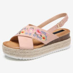 New              Women Espadrilles Embroidery Flowers Cross Strap Slingback Casual Platform Sandals