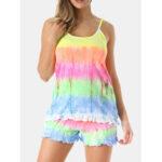 New              Women MultiColor Gradient Ruffles Camisole Shorts Comfy Pajama Set