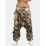 New              Casual Loose Elastic Waist Button Camouflage Print Harem Pants For Women