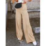 New              Women Solid Color High Waist Wild Casual Loose Wide Leg Pants