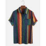 New              Mens Thin Breathable Cotton Colorful Stripe Holiday Short Sleeve Shirts
