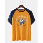 New              Men Cotton Funny Character Letter Print Crew Neck Raglan Short Sleeve Loose T-Shirts