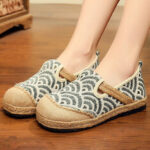 New              Women Linen Comfy Wearable Round Toe Casual Espadrille Flat Loafers